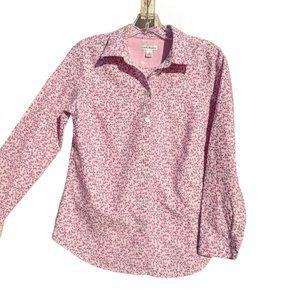 Croft & Barrow Small pink floral Button Front Top